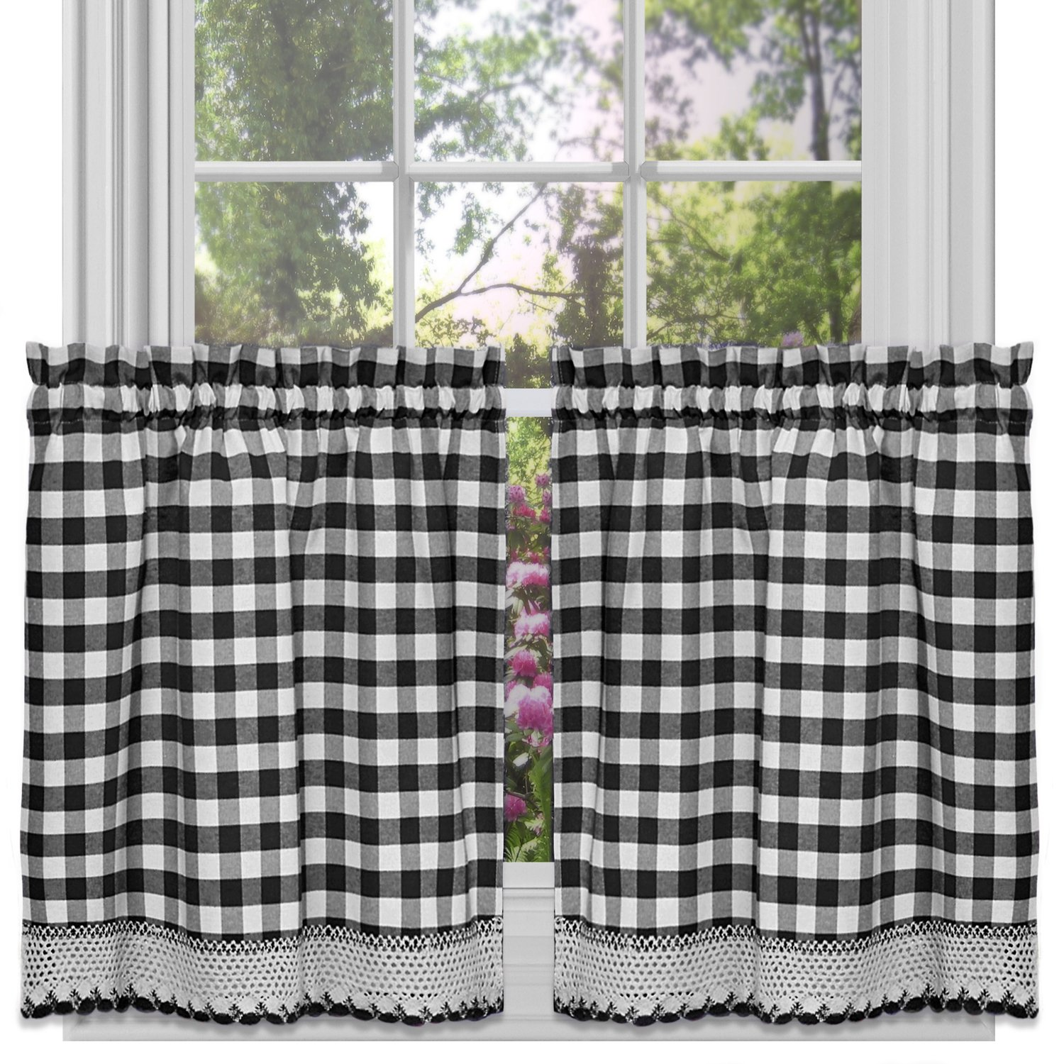 "Achim Home Furnishings Buffalo Check Window Curtain Tier Pair, 58"" x 36"", Black & White"