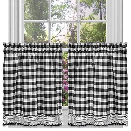 Achim Home Furnishings Buffalo Check Kitchen Curtain Tier Black White 58 X 36