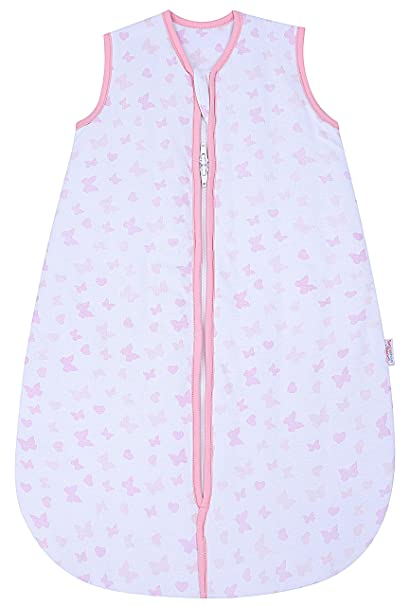 4cf496fb74da Snoozebag Butterflies and Hearts 100% Cotton Girls 2.5 Tog Nursery Baby  Sleeping Bag Pink 18-36 Months (110cm)  Amazon.co.uk  Baby
