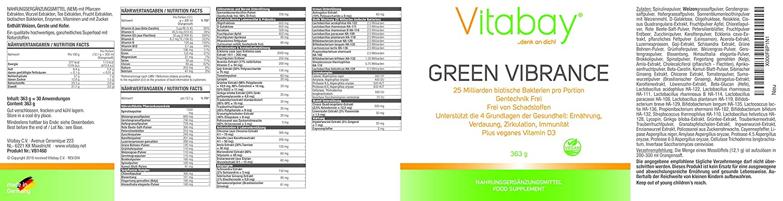Green Vibrance 363 g - Superalimento natural - Batido vegano Smoothie verde - 100% vegano