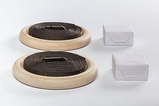 Madera Gym Turn anillos con banda y Magnesia bloque para Grip Premium Gimnasia Crossfit Entrenamiento + anillos Turn gratuita PDF con 20 Ejercicios: ...