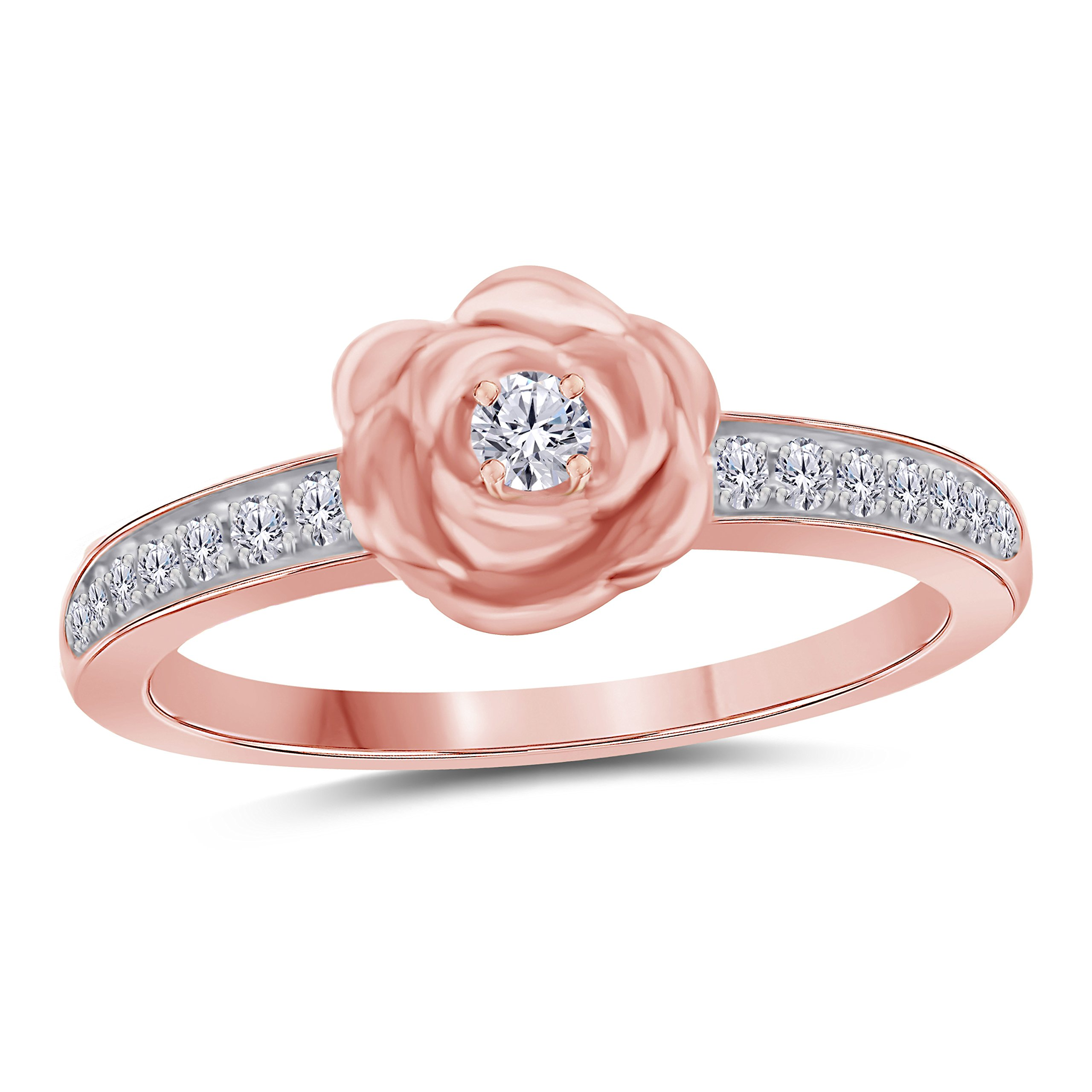 14K Rose Gold Plated Alloy Round Cut White Cubic Zirconia Rose Flower Design Fashion Ring Women's Jewelry