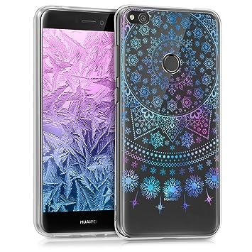 kwmobile Funda para Huawei P8 Lite (2017) - Carcasa de TPU para móvil y diseño con Copos de Nieve en Azul/Rosa Fucsia/Transparente