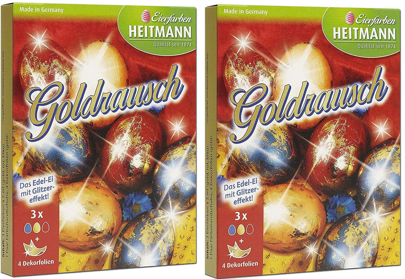 Bavaria-Home-Style-Collection Brauns Heitmann Ostereier Farben Eierfarben Ostereier Farben Goldrausch Fl/üssige Eierfarbe in Rot Gold und Blau Oster Eier bemalen Deko Ostern