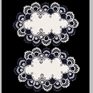 Linens, Art and Things Lace Place Mat Dresser Scarf Doily Blue Navy & White European Place Mat 14 X 21 Inch Set of 2