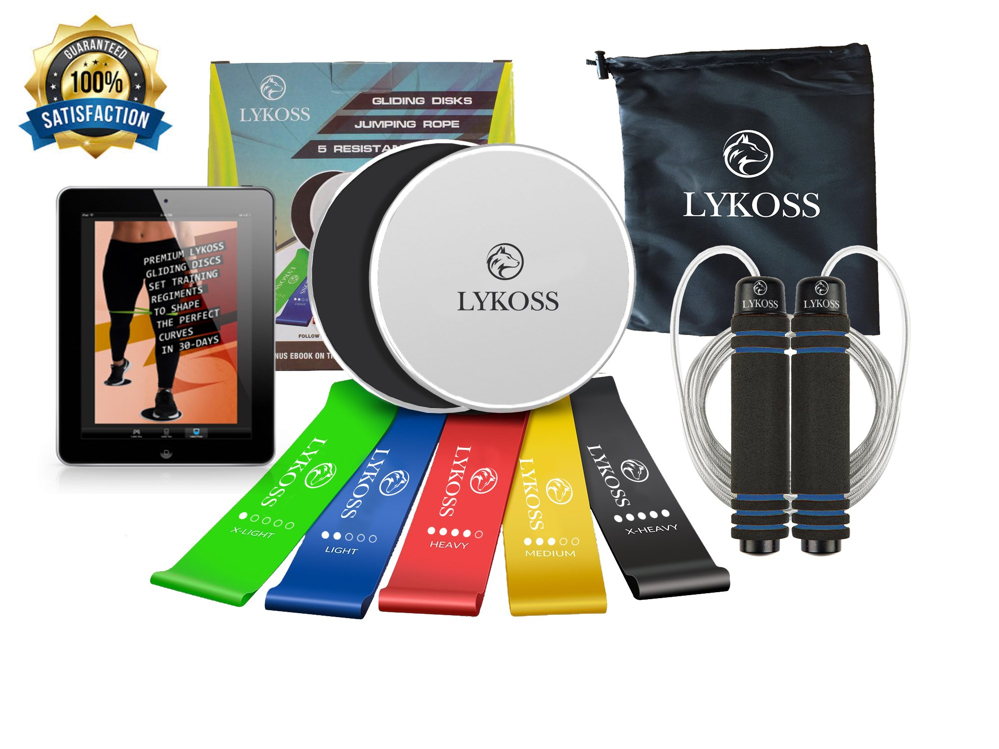 Lykoss 10-IN-ONE 2 Exercise Sliders + 5 Resistance Band Loops + Tangle Free Jump Rope | Gliding Fitness Discs For ANY Surface BONUS eBook System For Building Core Muscles And Dieting To Lose Fat!