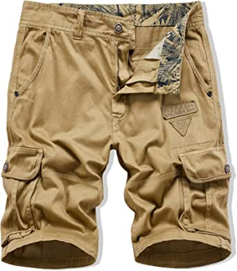 XIONG TAI Mens Cargo Shorts Relaxed Fit with Pockets Khaki Camo Camouflage Shorts Casual Work Shorts