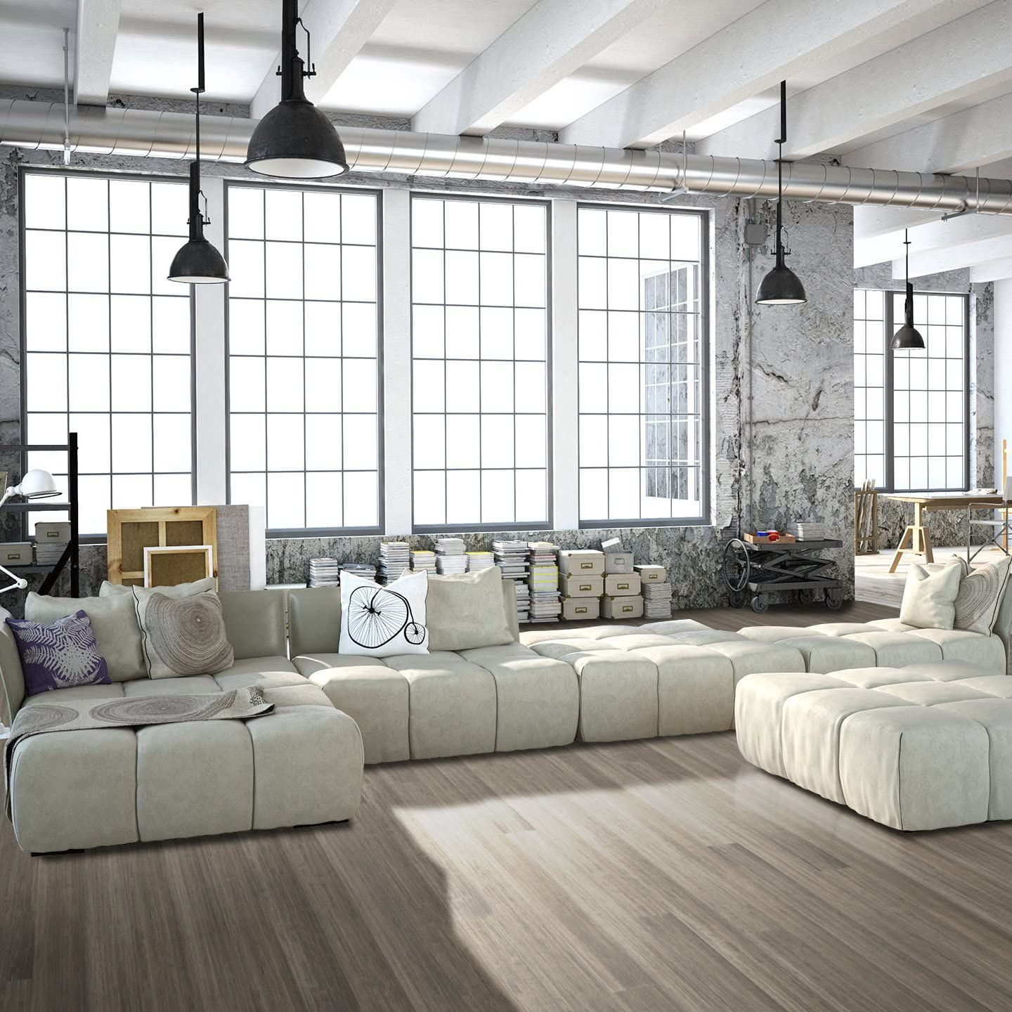 Cali Bamboo Catalina Gray Sample Size 8 L x 5 3//8 W x 9//16 H Solid Wide T/&G Bamboo Flooring Heavy Distressed