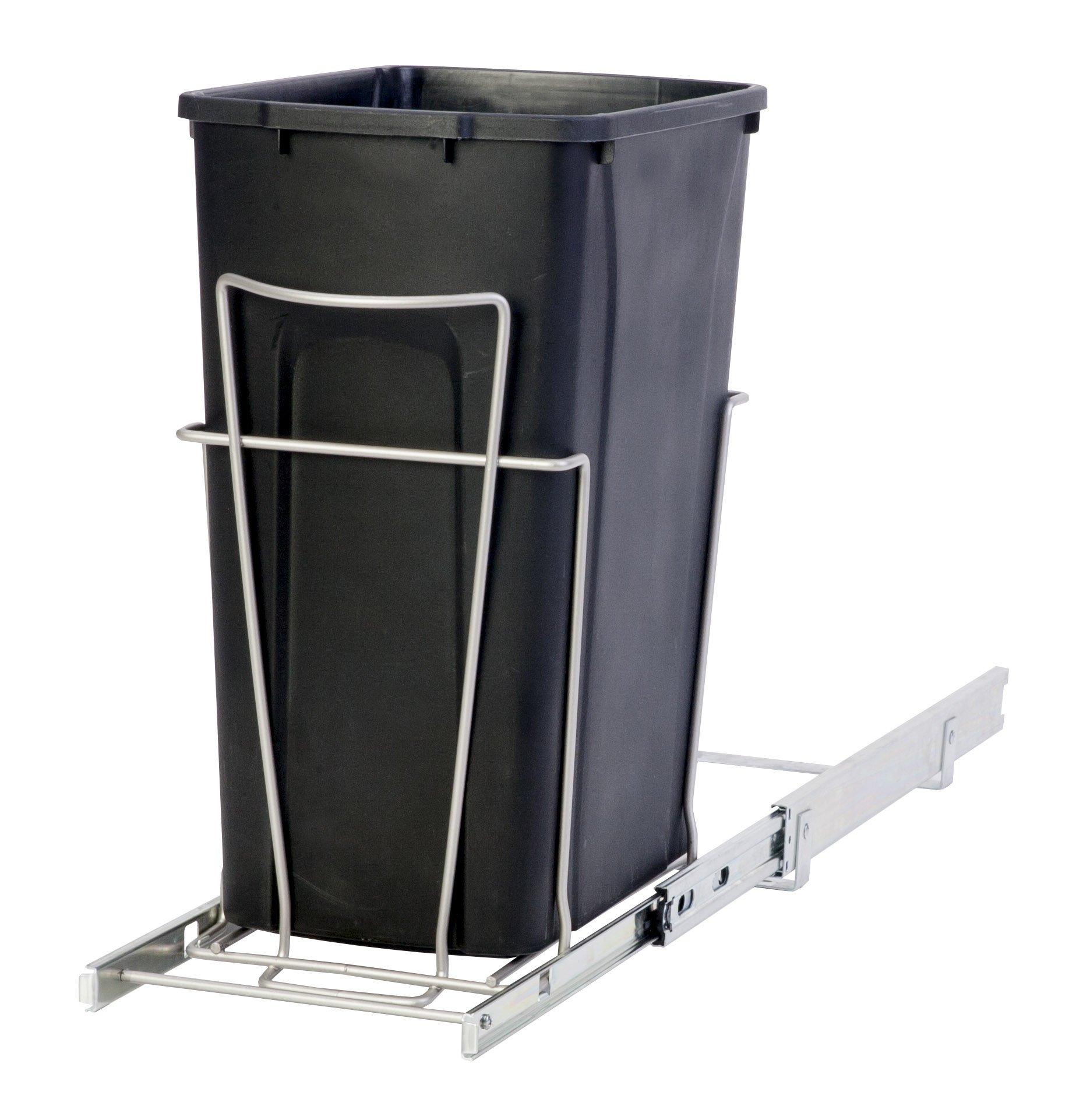 Panacea Grayline Single Trash Can Slide Out Basket Storage, Satin Nickel