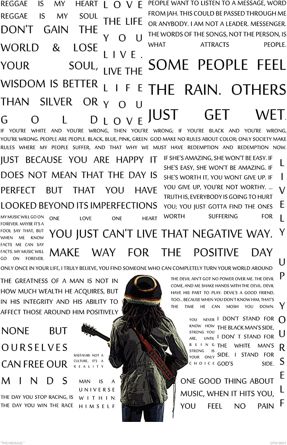 Bob Marley The Message In Quotes Poster Art Print Otw0051 Amazon Co Uk Kitchen Home