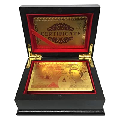 Ã'£50 Pound Gold Playing Cards 24k Carat Gold Plated Game Poker Gift Box Deck (Deluxe Quality Box) by SystemsEleven: Juguetes y juegos