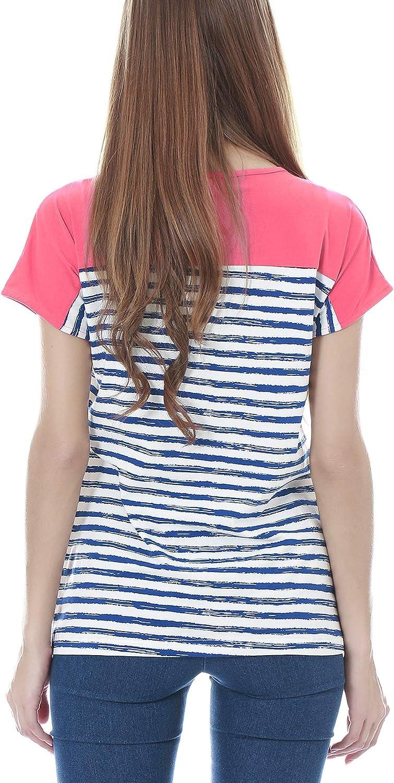 Smallshow Stillshirt Kurzarm Umstands Tshirt Umstandstop Umstandsmode Stilltop Baumwolle Schwangerschaft Streifen Shirt