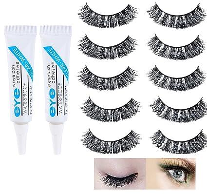 5 pares de pestañas falsas con 2 piezas de pestañas pegamento blanco de maquillaje profesional Artificial