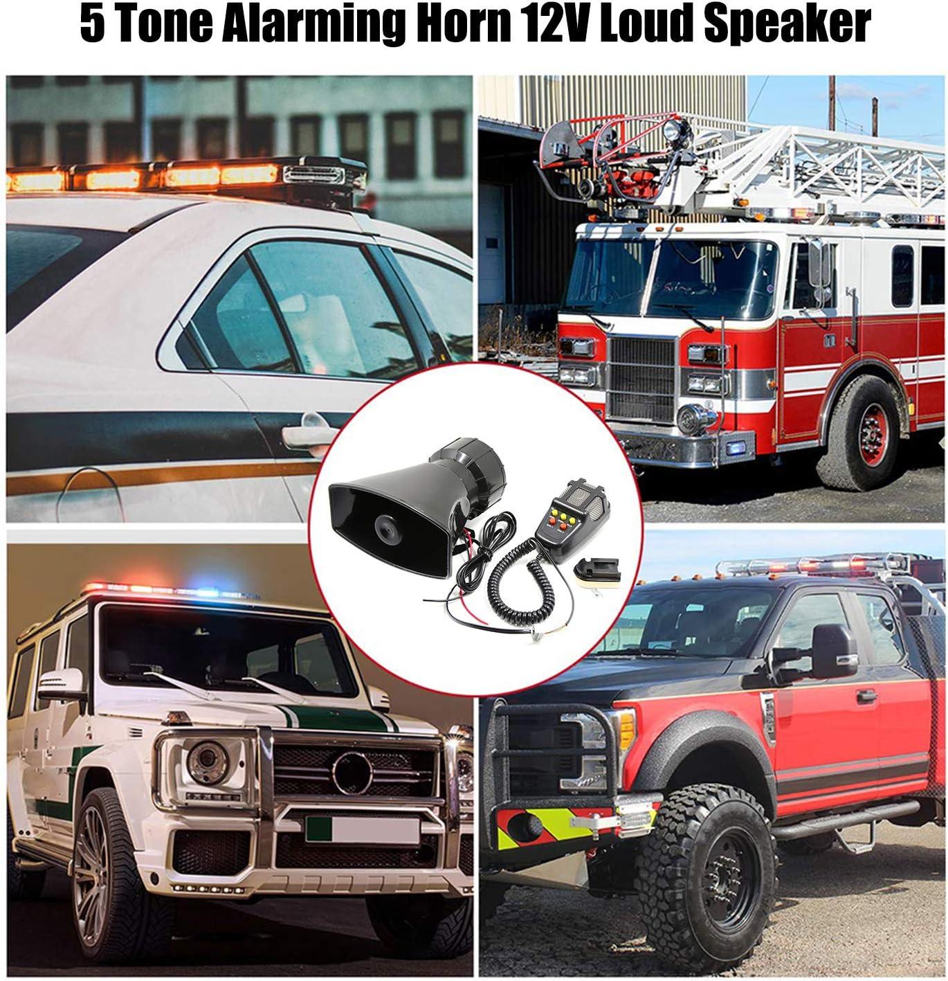KKmoon Car Motorcycle Horn 6 Tone Loudspeaker Super Loud Megaphone Horn 12 V Alarm Wailing Ambulance Blaring Police Siren Item Name aka Title