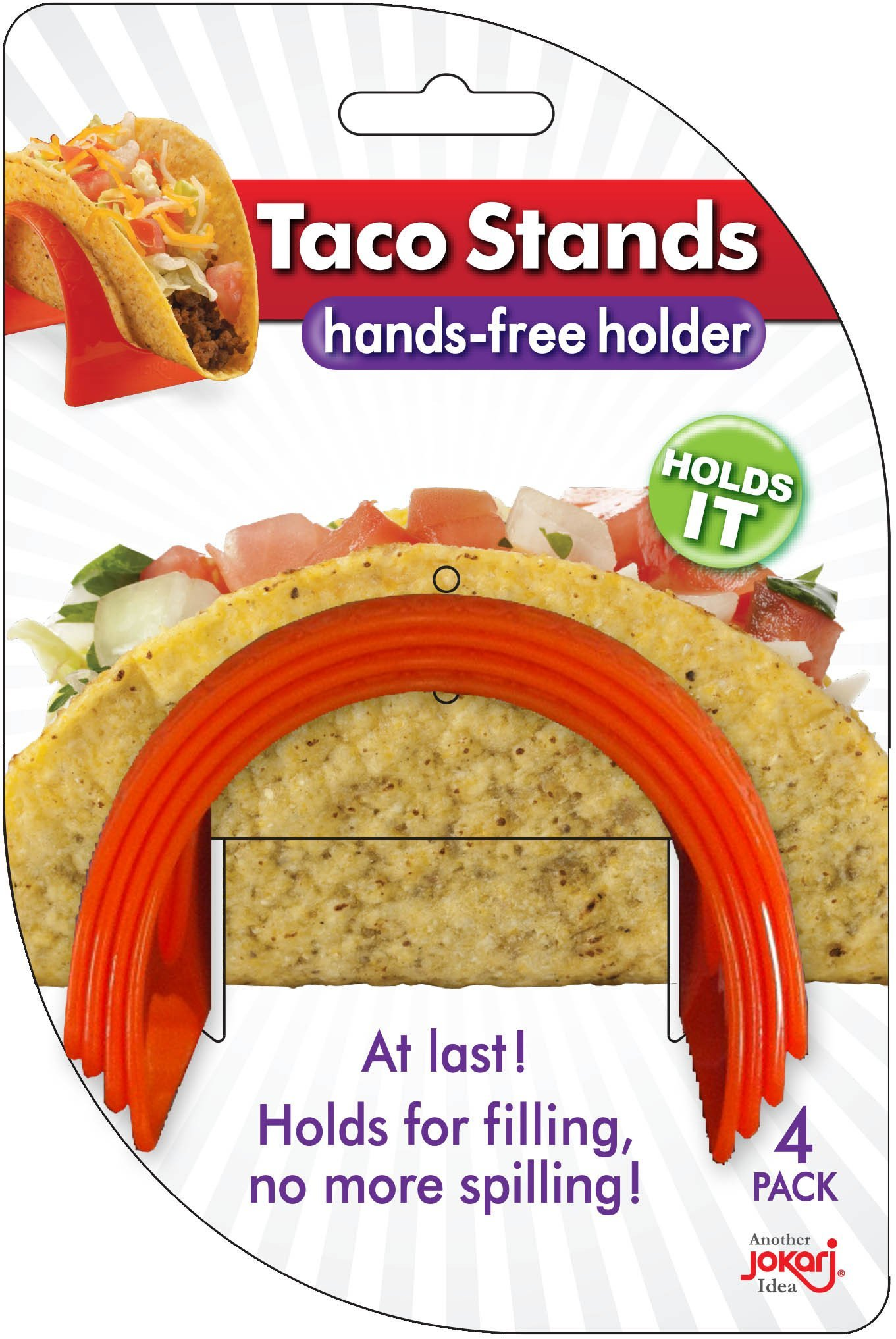 Jokari Cocina Collection E-Z Fill Taco Stands, 4-Pack