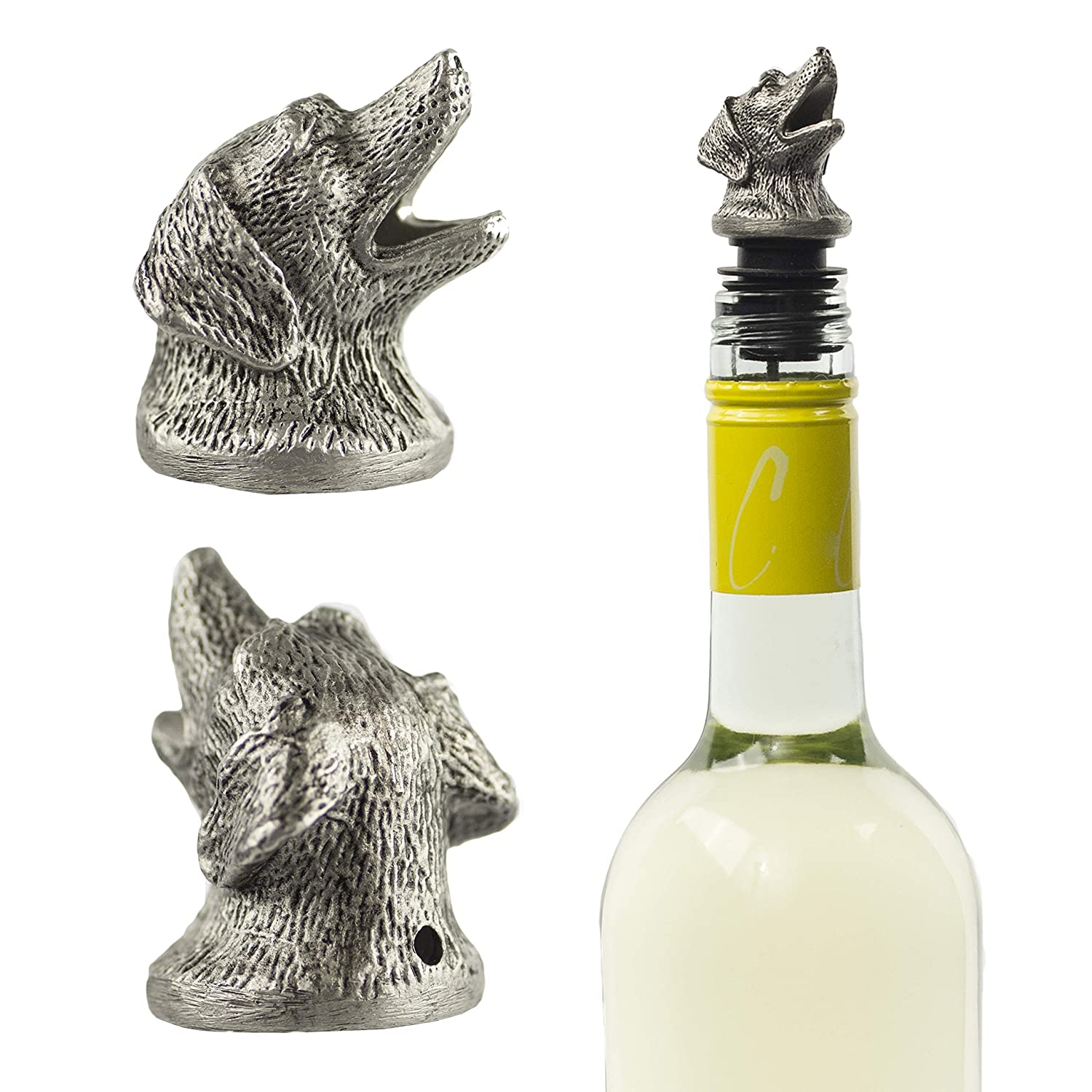 White and Rose Wine Stainless Steel Dog Wine Pourer Perfect Pour Spout for Red Aerator and Decanter Liquor and Olive Oil!