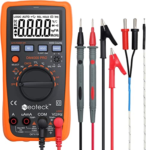 Neoteck Auto Ranging Digital Multimeter with Portable Case, 4000 Counts Volt Meter for AC DC Volt Current Resistance Capacitance Frequency Temperature CMOS and TTL Duty Cycle Transistor Diode