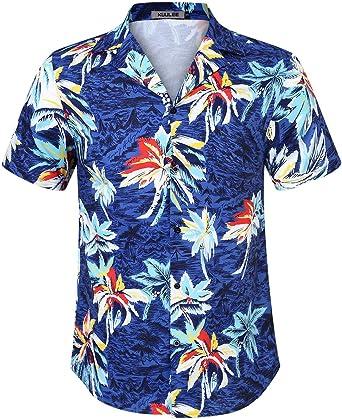 KUULEE Camisa Hawaiana Hombre Verano impresión Camisa Manga Corta: Amazon.es: Ropa y accesorios