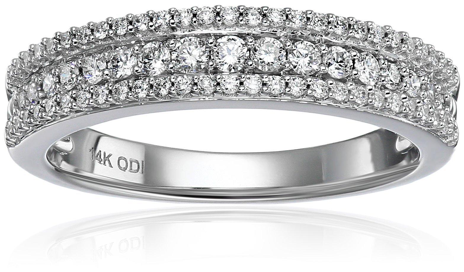 14k White Gold Diamond 3 Row Raised Edge Anniversary Ring (3/8cttw, H-I Color, I1-I2 Clarity), Size 7