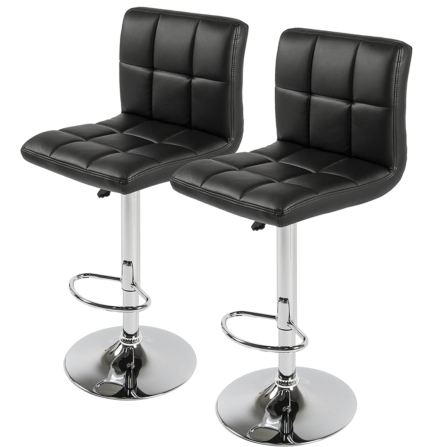 best choice products set of 2 pu leather adjustable bar stools counter swivel barstool pub black - White Leather Bar Stools