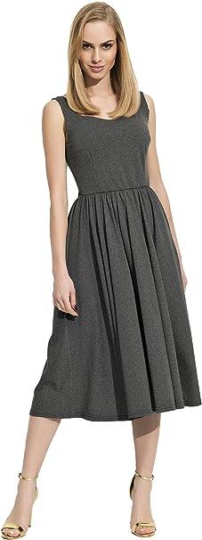 F09 S M L XL Damen Mittellanges Kleid Dress Glockenkleid Etuikleid Gr