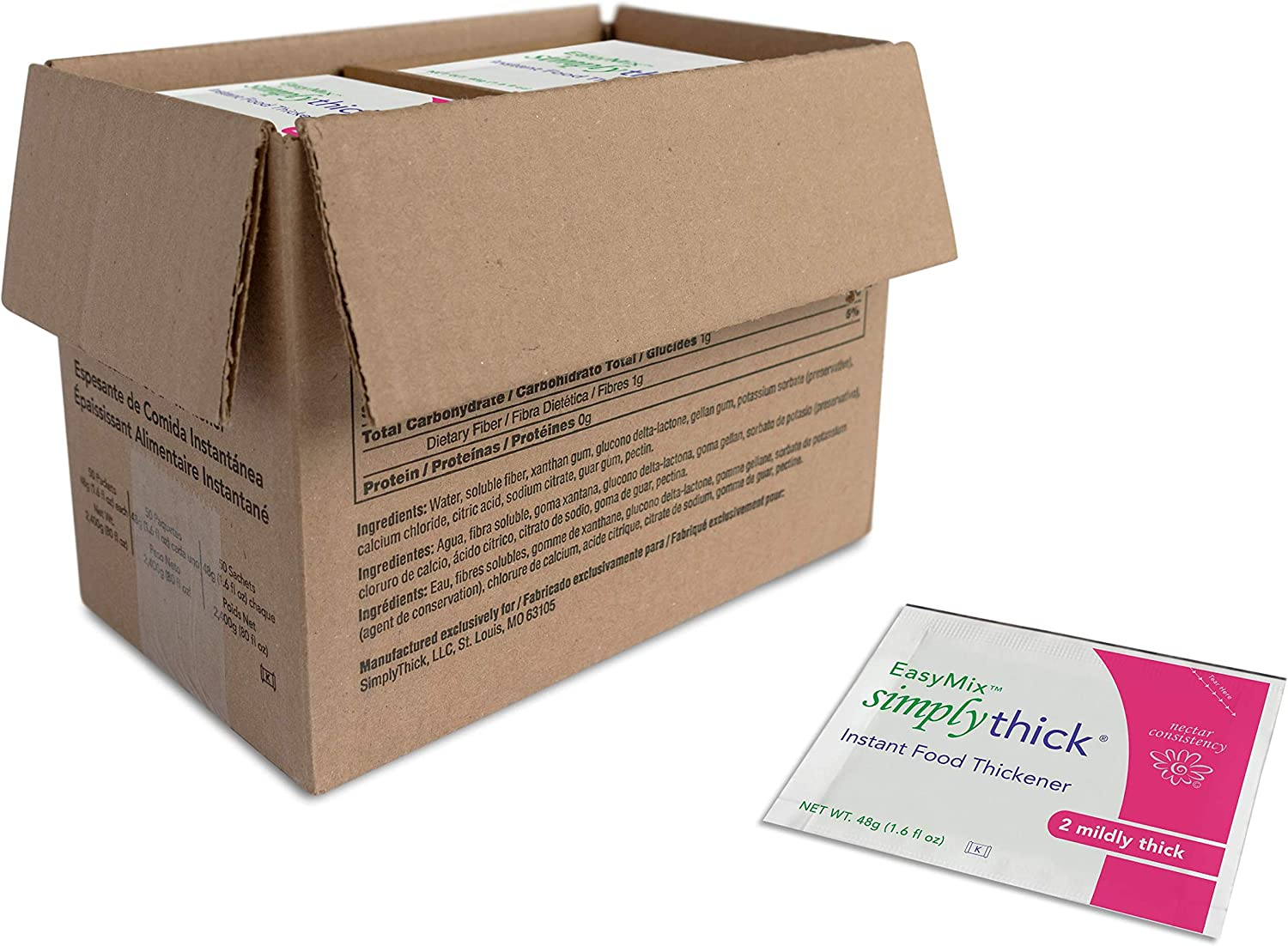 SimplyThick Easy Mix 50 Count of 48g Individual Packet Gel Thickener | for Dysphagia & Swallowing Difficulties | Add One Packet for Every 32oz of Liquid | Creates A Mildly Thick (Nectar) Consistency