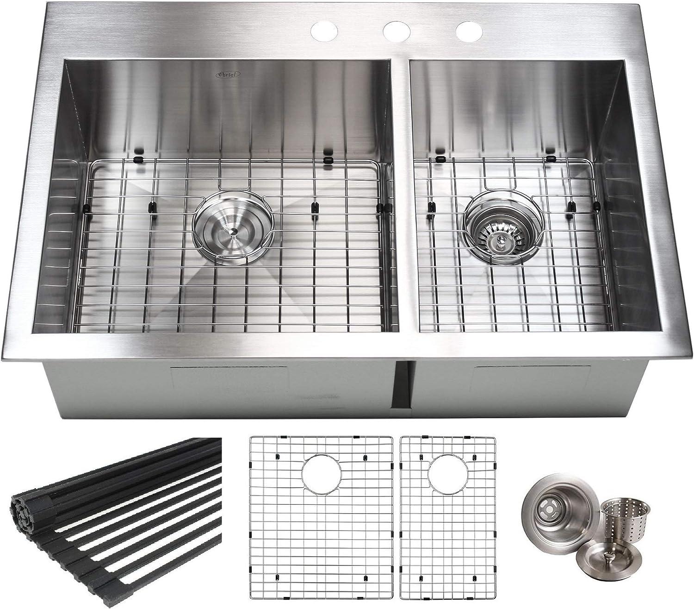 BATH 33 Inch Zero Radius Design 16 Gauge Topmount Drop In Over the Counter Large Double Bowl 6040 Stainless Steel Kitchen Sink Premium Package