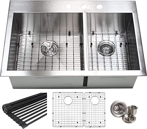 Kingsman Hardware 33 Inch Zero Radius Design 16 Gauge Topmount Drop In Over the Counter Large Double Bowl 6040 Stainless Steel Kitchen Sink Premium Package