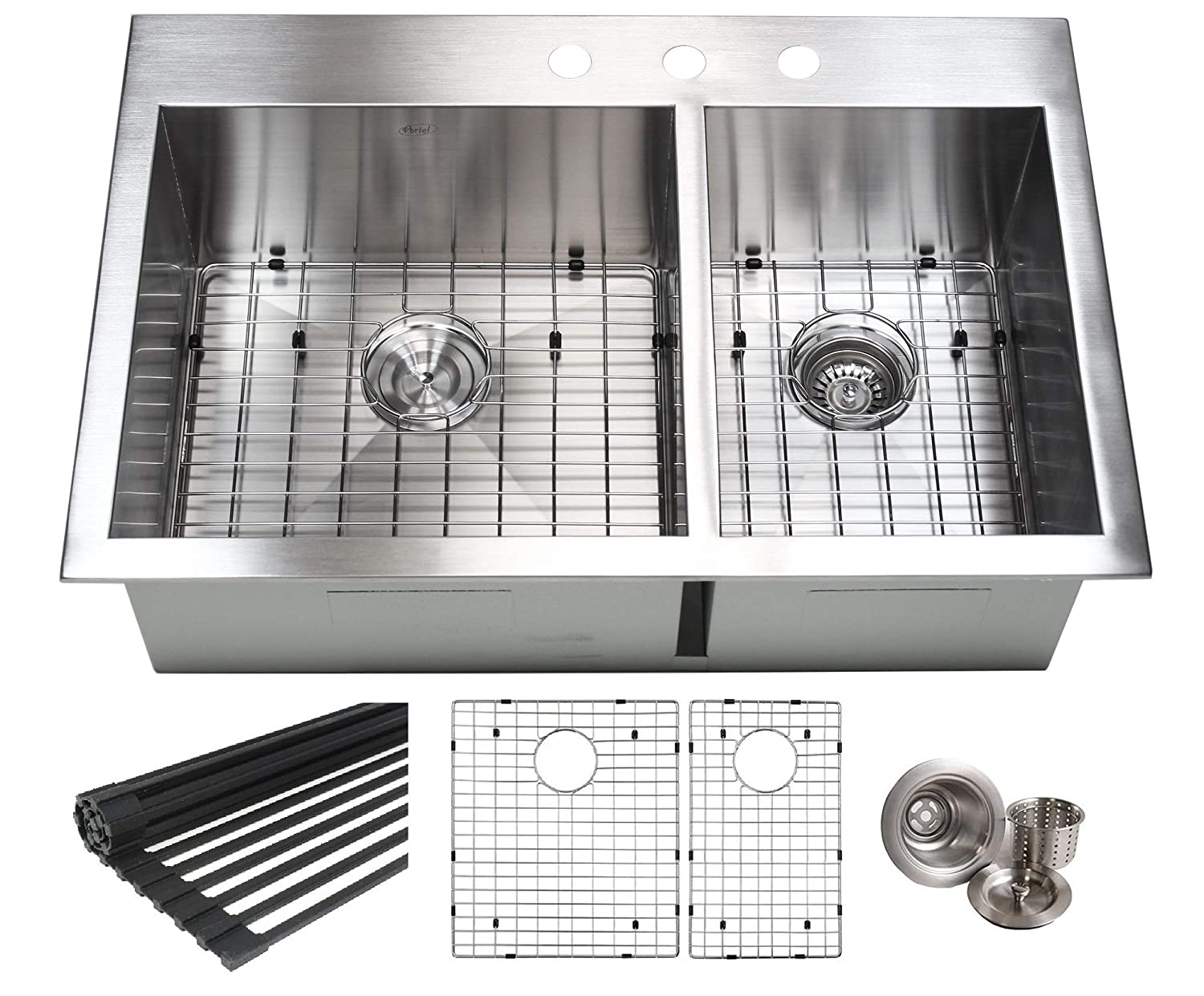 33 INCH 60 40 Zero Radius Design 16 Gauge Topmount Drop In Over the Counter Large Double Bowl 5050 Stainless Steel Kitchen Sink Premium Package 33 INCH 60 40 KKR-FT3322-6040