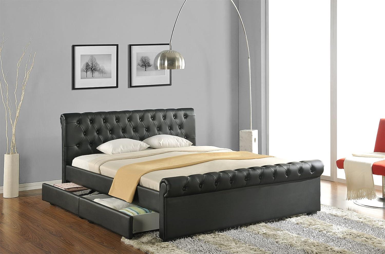 polsterbett schwarz komplett with polsterbett schwarz doppelbett polsterbett bettgestell bett. Black Bedroom Furniture Sets. Home Design Ideas