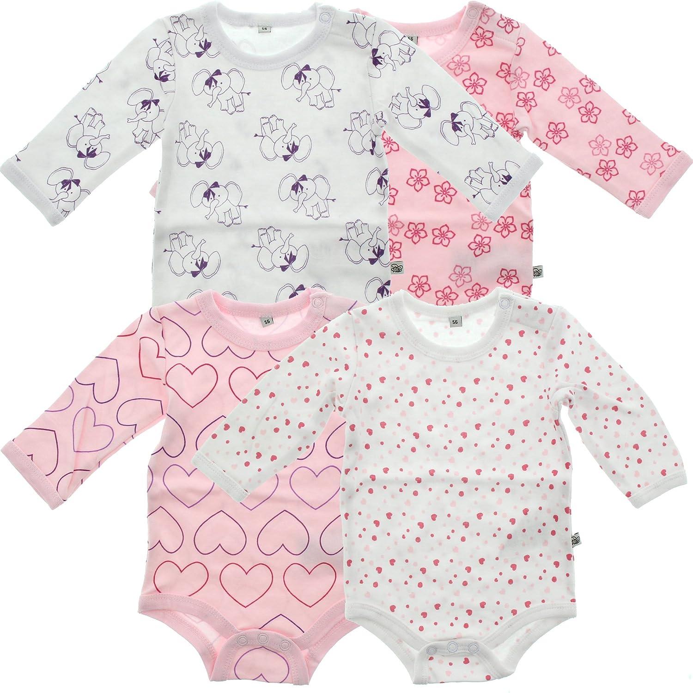 Pippi 4er Pack Kinder Mädchen Body mit Aufdruck, Langarm, Alter 2-3 Jahre, Größe: 98, Farbe: Rosa, 3819 Größe: 98