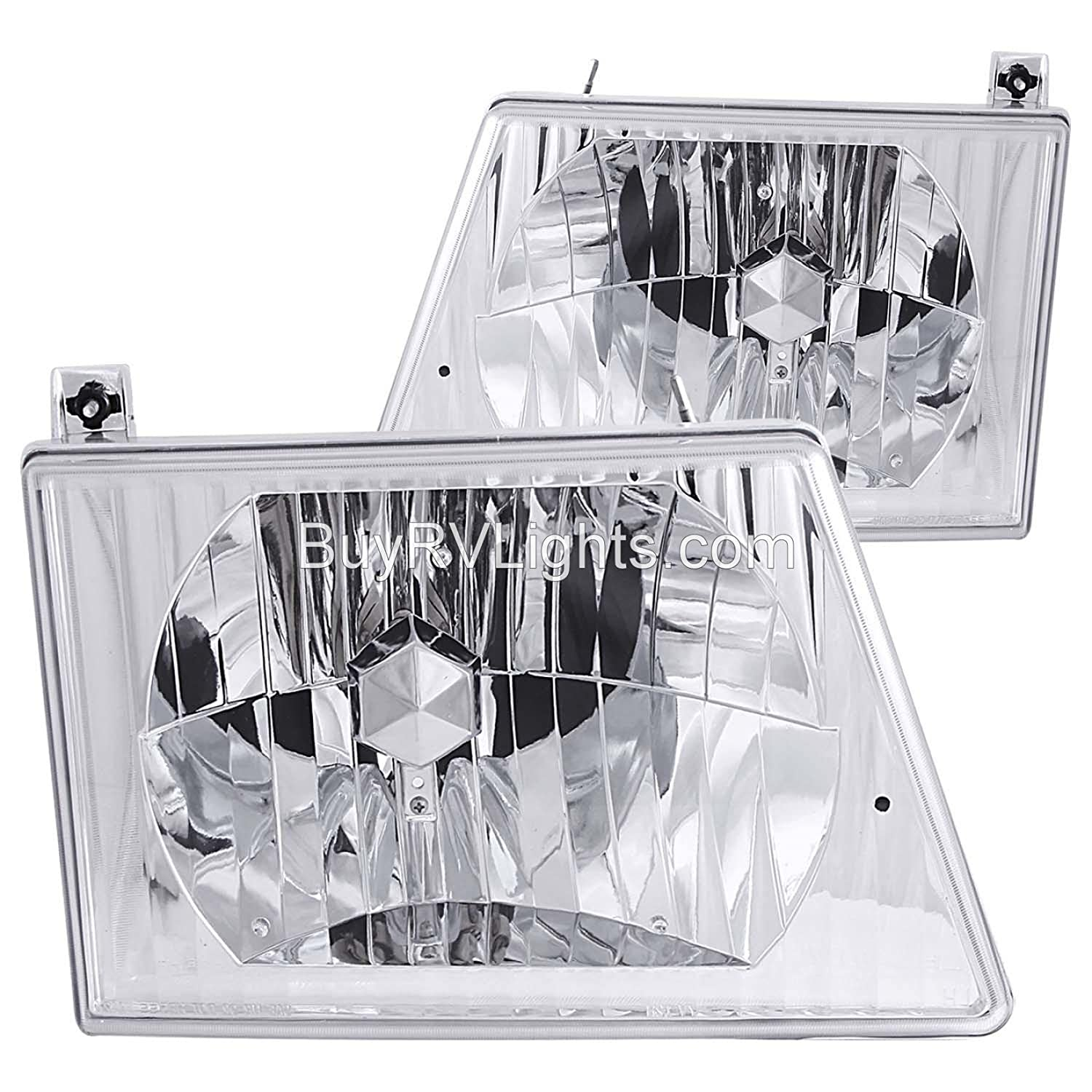 Holiday Rambler Scepter 2001-2002 RV Motorhome Pair (Left & Right) Diamond Clear Front Headlights Lighting 4 U