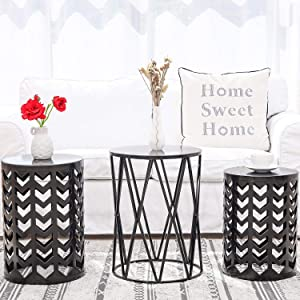 Set of 3 Metal Side End Tables Nightstand, Nesting Round Coffee Table for Indoor Outdoor, Heavy Duty Metal Plant Stand Living Room Garden Stool-Pure Black(Ship from US)