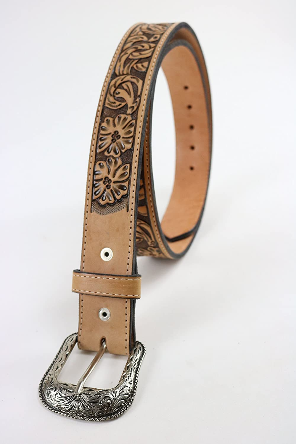 Mens natural leather belt with floral tooling and floral silver tone buckle