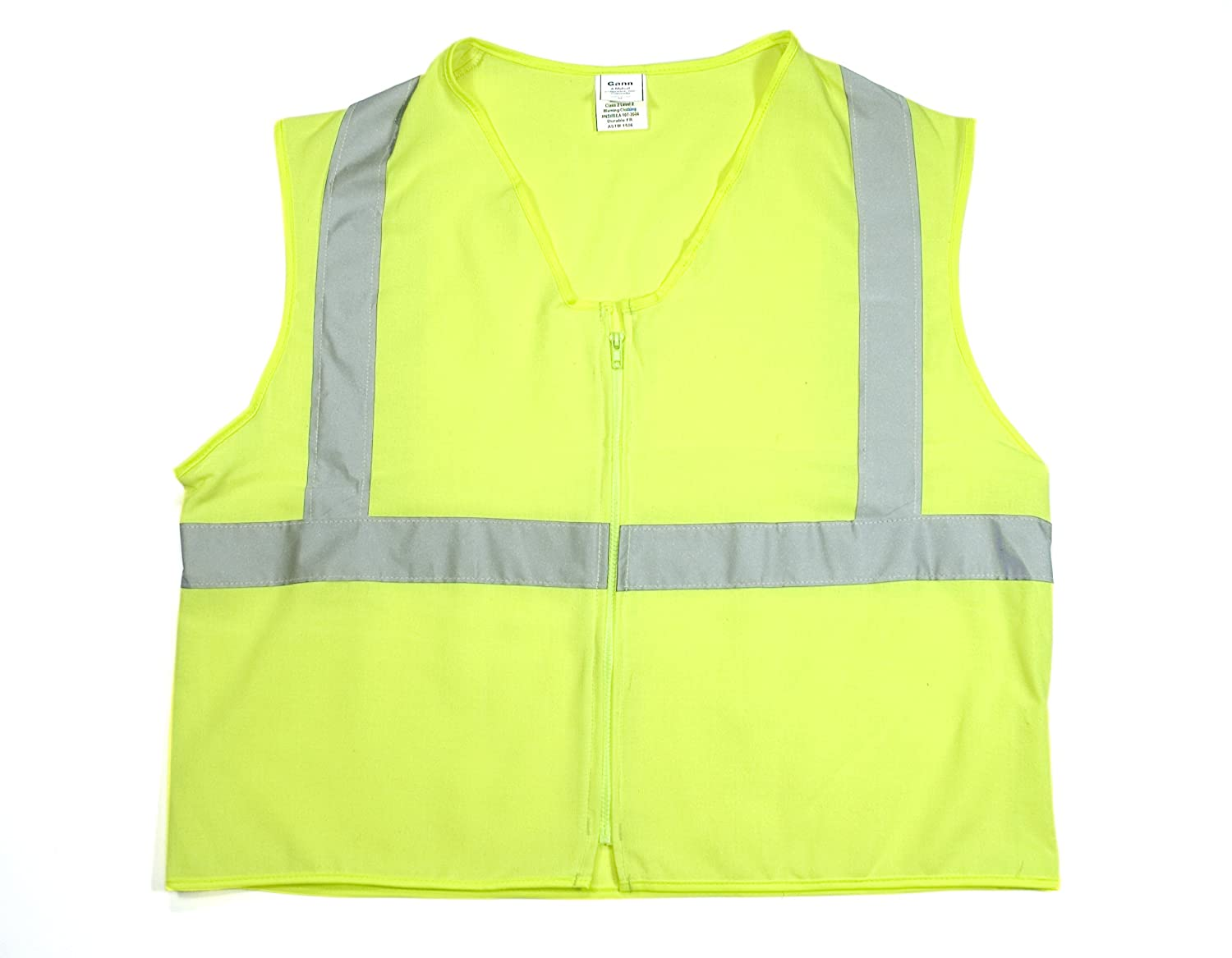 Mutual 16334 High Visibility Polyester ANSI Class 2 Deluxe DOT Safety Vest Vest with Pockets, X-Large, Lime by Mutual Industries B00C2B2Y54