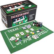 Gamie Texas Holdem Poker Game Set - Includes Hold'em Mat, 2 Card Decks, Chips, Chip Holder and Tin Storage Box - Fun Game Ni