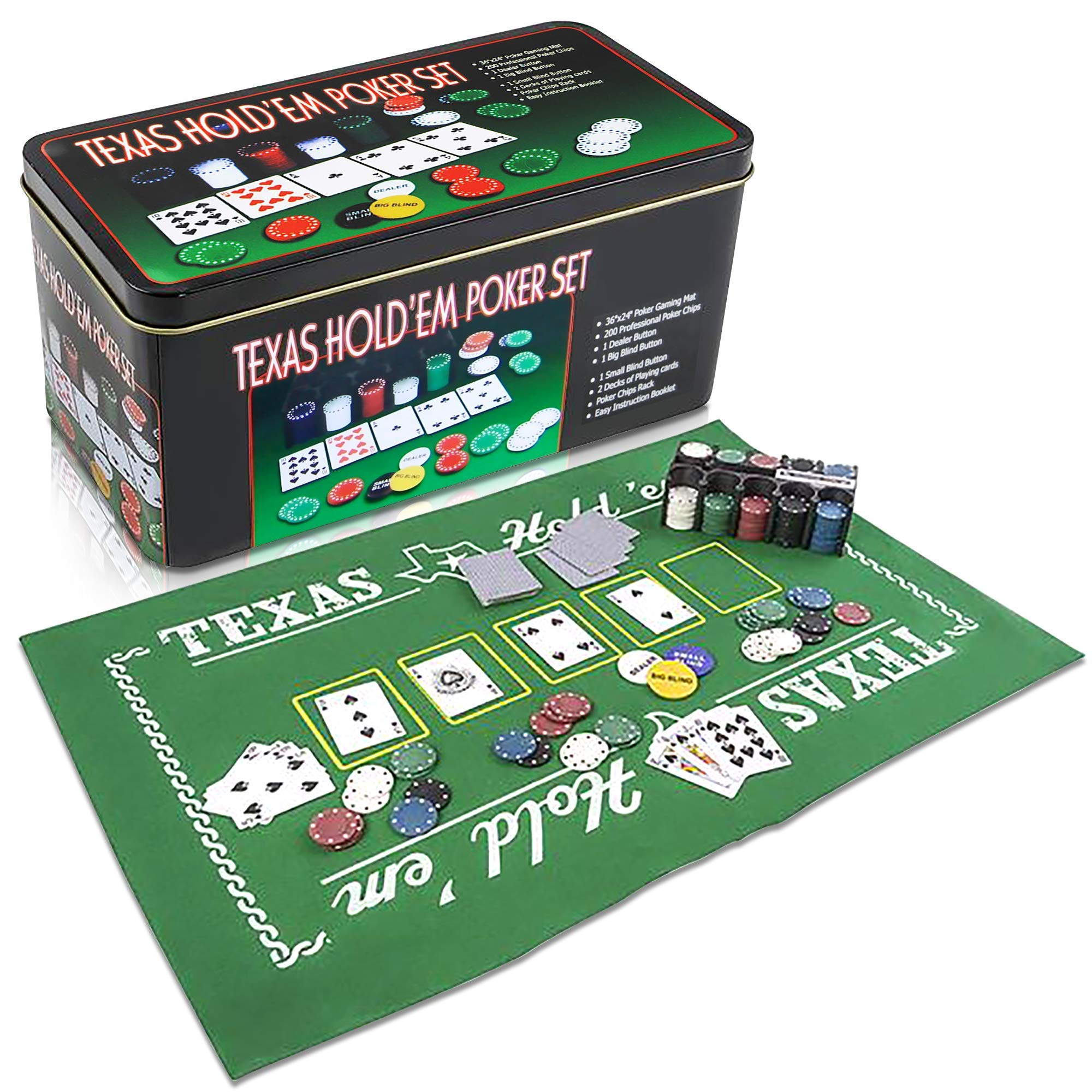 Gamie Texas Holdem Poker Game Set - Includes Hold'em Mat, 2 Card Decks, Chips, Chip Holder and Tin Storage Box - Fun Game Night Supplies - Cool Casino Gift for Kids and Adults by Gamie