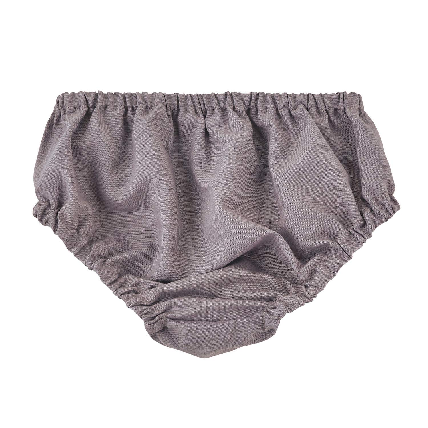 Stephan Baby Heirloomed Collection Linen Weave Cotton Diaper Cover Bloomers, Gray, Fits 6-12 Months