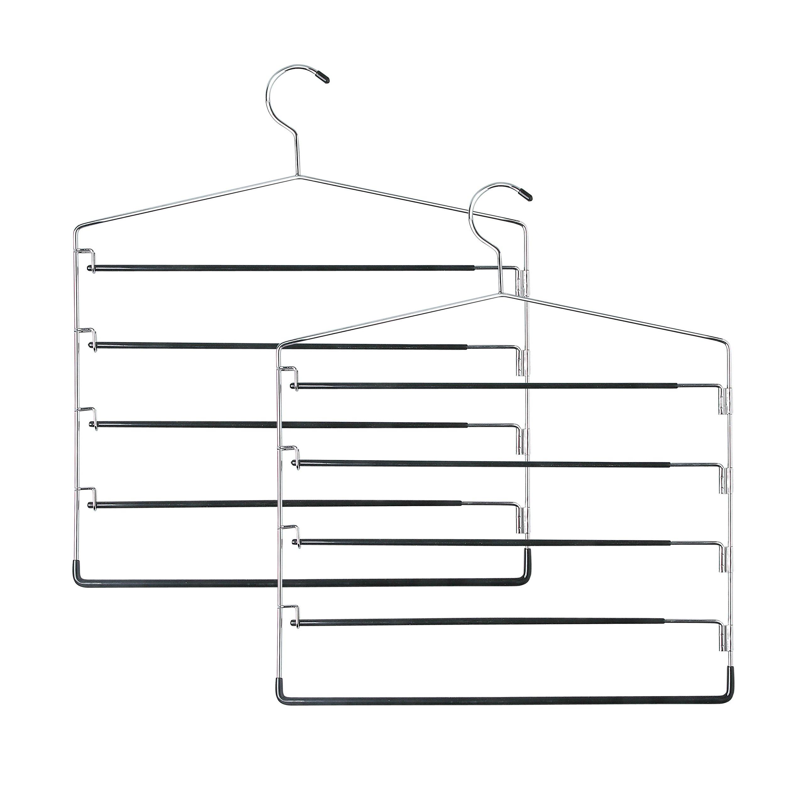 Honey-Can-Do HNGT01202 Five-Tier Swinging Arm Pant Rack Black, 2-Pack