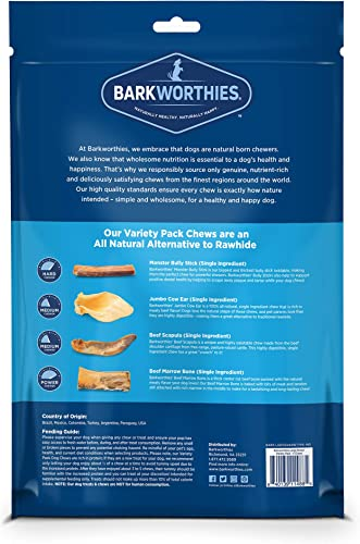 Barkworthies Healthy Dog Treats Chews Variety Pack – Protein-Rich, All-Natural, Highly Digestible, Rawhide Alternative – Promotes Dental Health – Great Gift for All Dogs