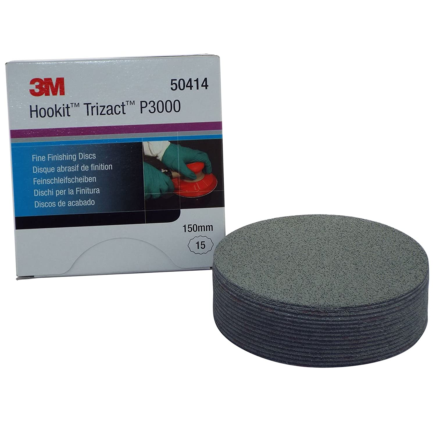 3M 50414 Trizact Fine Finishing Abrasive Discs 15 Pieces P3000 150mm Painting