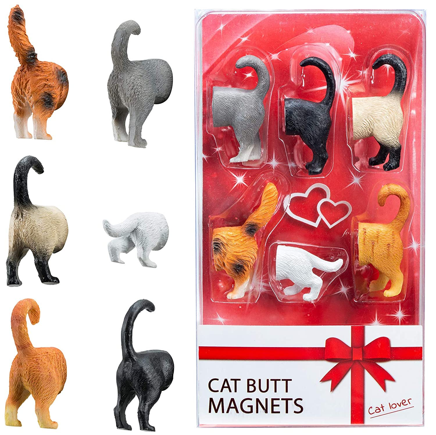 Cat Butt Refrigerator Magnets - READY GIFT SET of 6 for Cat Lovers Home and Office Decorations