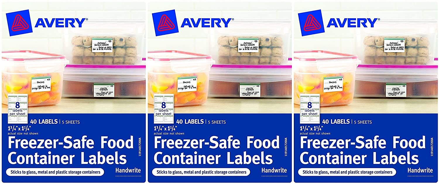amazon com avery freezer safe food container labels 1 25 x 1 75