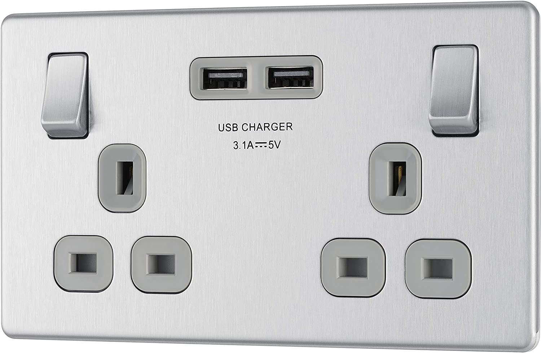BG FBS22U3G Brushed Steel USB Double Socket 2 Gang Twin Grey Screwless Flatplate