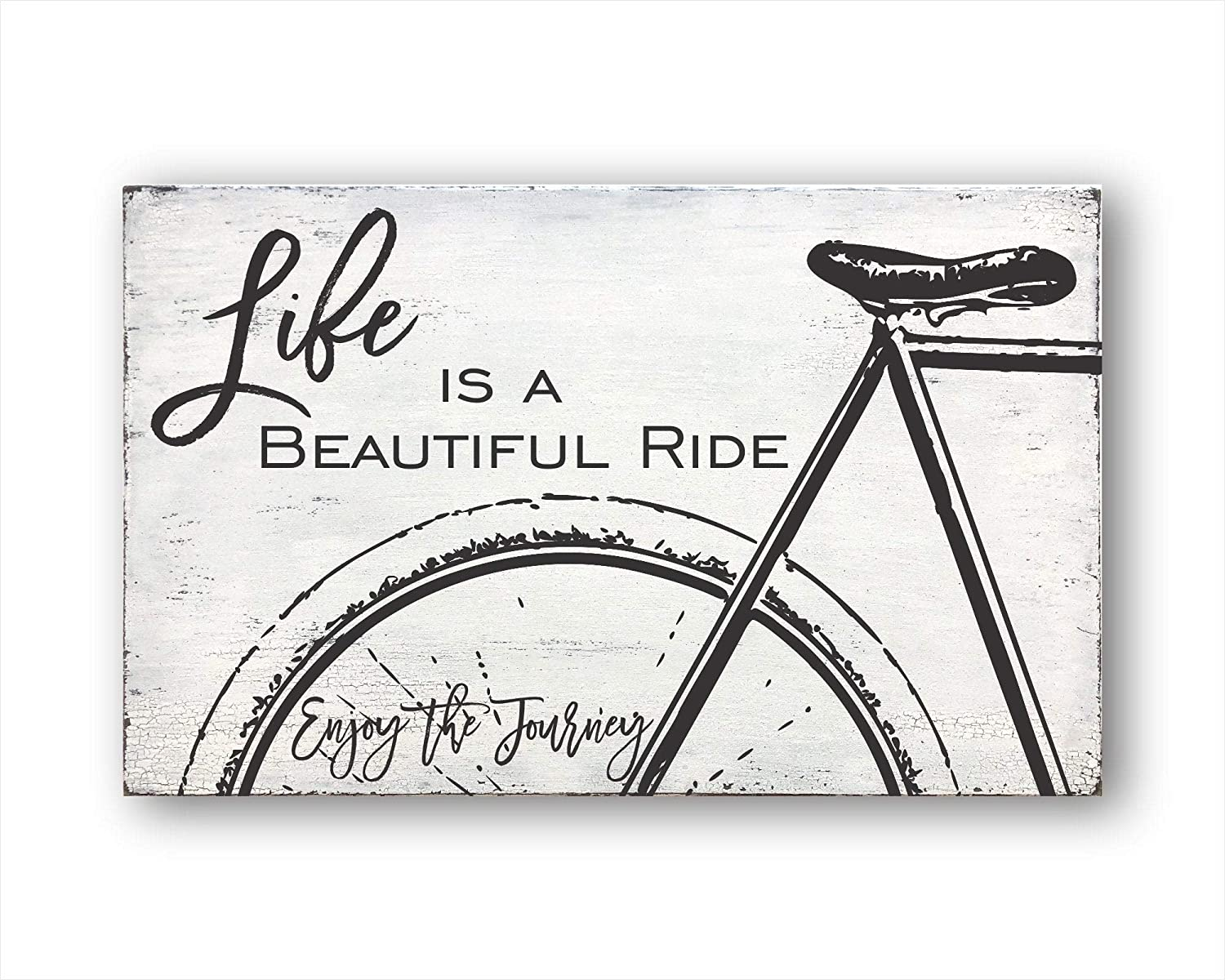 PotteLove Rustic Wooden Plaque Wall Art Hanging Wood Sign Life is A Beautiful Ride, Home Decor, Inspirational Quotes 12