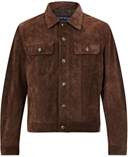 TRUCKER New Men/'s BLACK SUEDE Classic Real Soft Cow Western Leather Jacket 1280