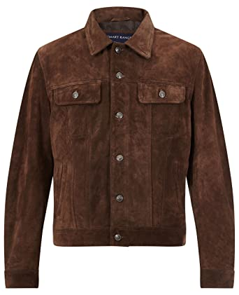 Trucker New Men S Brown Suede Classic Real Cowhide Western Leather