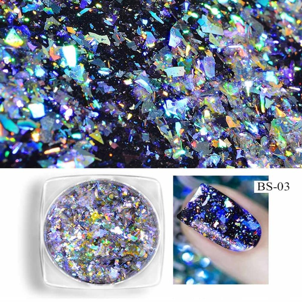Women Nail Glitter Powder, Lotus.flower Neon Flakes Magic Rainbow Mirror Effect Nail Sequins Pigment DIY Shinning Nail Art Charming Makeup (C)