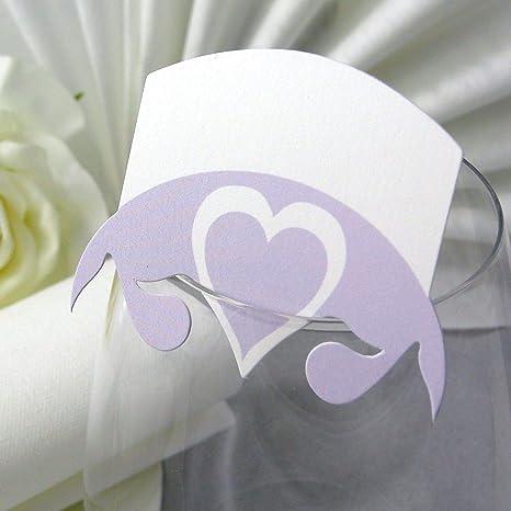 Einssein 10x Tischkarten Hochzeit Herz Blatt Flieder
