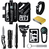 Survival Kit, Emergency Survival Kits 14 in 1, Survival Gear Kit Outdoor Survival Tool with Fire Starter, Whistle, Knife, Flashlight, Emergency Blanket etc for Hiking, Camping, Hunting (14 IN 1)